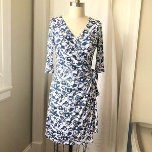White Floral Print Knit Wrap Tie Dress